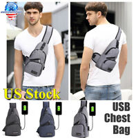 Polyester Small Sling Bags USB Charging Chest Pack Shoudler Bag Travel Backpack