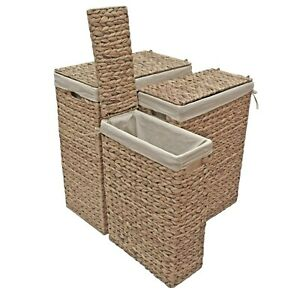 Wicker Lined Laundry Basket Slim, Natural Water Hyacinth
