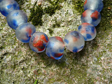 Strang Altglasperlen 20 mm blau/rot/klar - Recycled Glass Beads Ghana Krobo