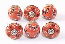 Schrankknöpfe / Möbelknopf ,Keramik ,Orange 4 & 4,5 cm Ø  Set 6 Stück