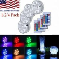4PCS Swimming Pool Pond Submersible Light RGB LED Bulb Underwater Lights Lamp US
