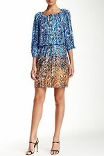 Maggy London 3/4 Sleeve Printed Keyhole Tie Dress Size 4 Blue Combo Ombre