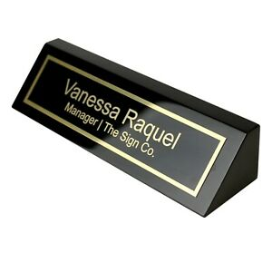 Personalized Business Desk Name Plate - Black Piano Finish - Includes Engraving
