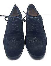 NINE WEST Black Soft Suede Leather Classic Wingtip Oxford Lace-Up Shoes Sz 6.5 M