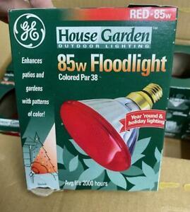 6 Pack NEW GE Brand 85w Red PAR38 Outdoor Flood Light Bulbs