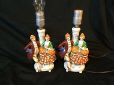Vintage Porcelain Victorian Colonial Couple Table Lamp Made In Occupied Japan