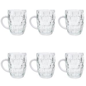 6 x Beer Mug 560ml JUG Glass Glasses W Handle Dimple Print Party Bar Drink