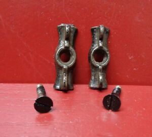 2 ANTIQUE NOS CAST IRON BOW TIE JELLY CUPBOARD CABINET WINDOW LATCH #1