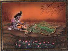Krishna Radha Ethnic Painting Handmade Indian Hindu Divine Love Krshn Folk Art