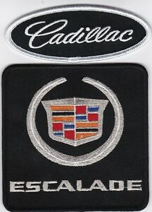 CADILLAC ESCALADE BLACK SILVER SEW/IRON ON PATCH EMBLEM BADGE EMBROIDERED V8