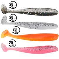 20PCS 7.5cm Soft Plastic Fishing Lures T-Worm Baits Fish Tackle Accessory