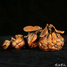 Collectable China Antique Boxwood Hand-Carved Fruits Tangerine Delicate Statue