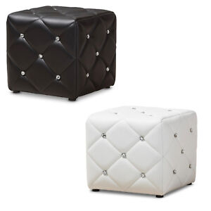 Black Or White Ottoman Modern Crystal Tufted Faux Leather Upholstered Foot Stool