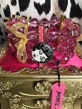 Betsey Johnson Vintage Art Deco Flapper Girl Pink Polka Dot Flower Bracelet NOS