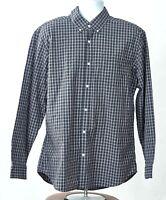 Eddie Bauer Large Legend Wash Men Blue Plaid Classic Cotton Long Sleeve Shirt
