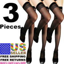 3 Women Stockings Net Lace Top Thigh-High Fashion Pantyhose Up Hold Socks Tights