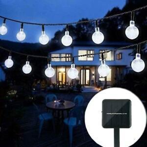 30/50 LED FAIRY STRING CRYSTAL BALL LIGHT GARDEN DECOR LAMP SOLAR POWER OUTDOOR