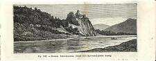 Stampa antica USTI NAD LABEM Schreckenstein CESKA 1889 Old Print starožitný tisk