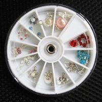 12 Pcs Rhinestones Dangles UV Gel Acrylic False Nail Art Tips Decoration Wheel