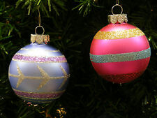 LOT OF 4 FROSTED PURPLE & PINK GLITTERED GLASS BALLS CHRISTMAS ORNAMENTS