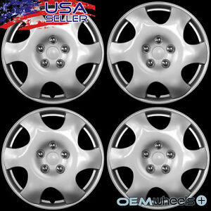 "4 NEW OEM SILVER 15"" HUB CAPS FITS TOYOTA TRD ABS SPORT CENTER WHEEL COVERS SET"