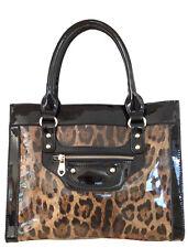 Sylvie Rousselle--Women's Black Patent Leather Handbag with Leopard Pattern