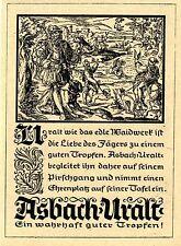 ASBACH URALT JAGD MIT SINNSRUCH Historische Reklame von 1937