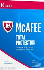 New McAfee Total Protection 2017 for 10 Devices 1 Year (Full License + Download)