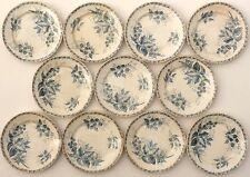 11 Assiettes plates en faïence de Badonviller Lunéville, modèle MURE