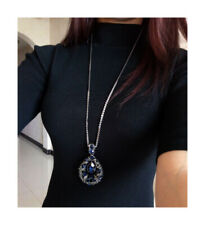 Nataliya Blue Oval Paragraph Pendant Necklace