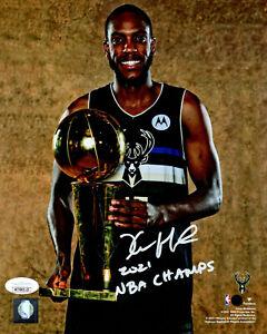 Milw Bucks  KHRIS MIDDLETON Signed 8x10 Photo #3 w/ 2021 NBA Champ AUTO JSA