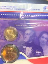 JOHN TYLER + LETITIA PRESIDENTIAL $1 DOLLAR COIN & FIRST SPOUSE MINT MEDAL SET