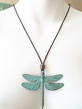 """3"""" Patina Brass Dragonfly charm Pendant Wax Rope handmade adjustable necklace"""