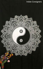 White Color Flower Yin Yang Design Twin Cotton Tapestry Wall Hanging Bedspread