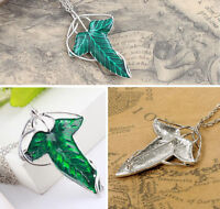 Pin Brooch Pendant Chain Necklace Vintage Lord of The Rings Green Leaf Elven EY