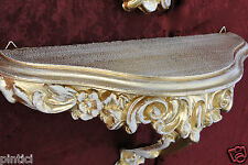 Vintage Wall Bracket gold-weiss Console Tray Antique Baroque Stands Storage