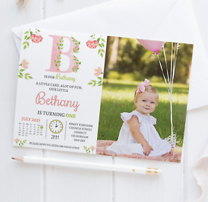 Personalised Floral 1st Birthday Invitations Photo First Birthday Invite x10 pck