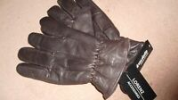 Mens Brown Leather Gloves By Lorenz With Thinsulaate Fleece Lining M New,Tagged