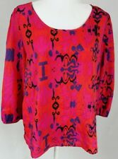 Paisley And Ivy Women's Top/Blouse Size L Pink/Orange Button Detail 3/4 Sleeves