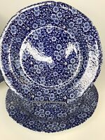"""Staffordshire Calico Blue Dinner Plate Royal Crownford Chintz England (4) 10.5"""""""