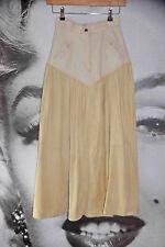 Maxi Falda vintage años 70 Western Vaquera de gamuza de piel de becerro Marfil Boho Navidad