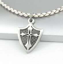 Silver Chrome Black Dog Tag Shield Cross Pendant White Braided Leather Necklace