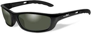 Wiley X P-17 Sunglasses/Eyewear, Polarized, Green Lenses, Gloss Black Frame