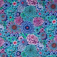 Free Spirit Kaffe Fassett Enchanted Floral PWGP172-Blue Cotton Fabric BTY