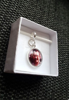PERSONALISED PHOTO PRINTED  ROUND / CIRCLE CHARM & BRACELET - 925 Sterling