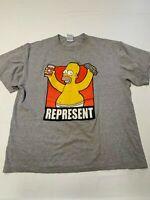 Mens DELTA Gray Vintage The Simpsons Homer Represent T Shirt Sz L 2003