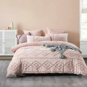 Tufted Peach Chenille Queen King Super Quilt Doona Duvet Cover Set Luxury Elise