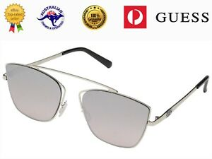 GUESS Womens GF0331 Shiny Silver Frame Pink Gradient Flash Lens Sunglasses
