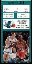 Ticket Basketball Chicago Bulls 1991 3.15 Charlotte Hornets Michael Jordan