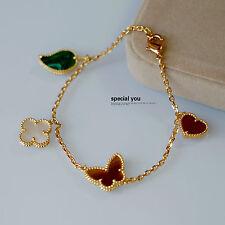 Bracelet Charms Papillon Coeur Trèfle Malachite Carnelian Nacre Plaqué Or TF1